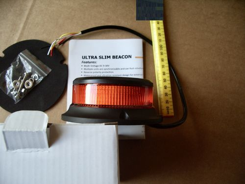 Ultra Slim Amber LED Beacon 3 bolt
